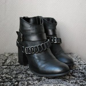 Black Leather and Chain Strap Heeled Boots